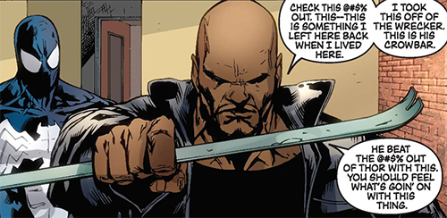 Luke Cage Beats Up the Wrecker, Everyone Else, with the Wrecker's Crowbar